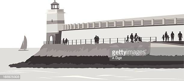 lighthouse view vector silhouette - crag stock illustrations, clip art, cartoons, & icons