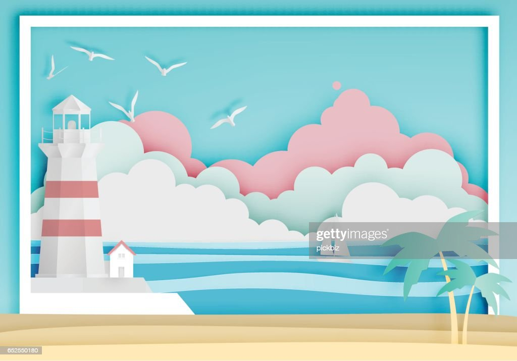 Lighthouse with ocean background frame paper art style