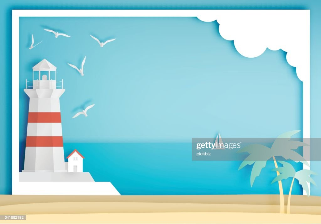 Lighthouse with ocean background frame paper art