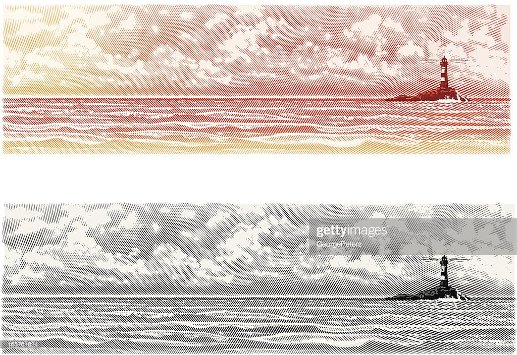 Lighthouse with Seascape and Cloudscape : stock illustration