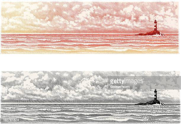 Lighthouse with Seascape and Cloudscape