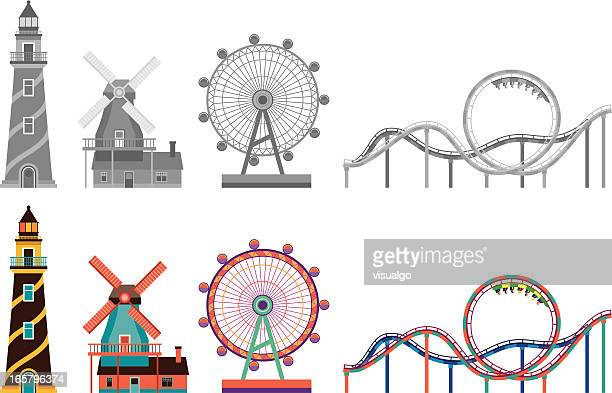 lighthouse,windmill,ferris wheel and roller coaster - ferris wheel stock illustrations, clip art, cartoons, & icons