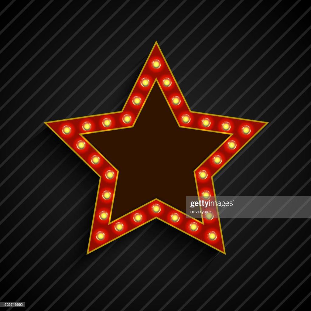 Lighting bulb banner star sign on the on black background