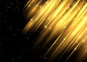 Lighting Effect. This Lighting Enhance your Design Work Look Modern. Shining Motion Luxury Design. Abstract Image of Flare. Golden Lights. Vector Illustration on Black Background