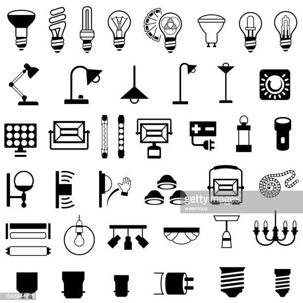 lighting fixtures and equipment icons - switch stock illustrations, clip art, cartoons, & icons