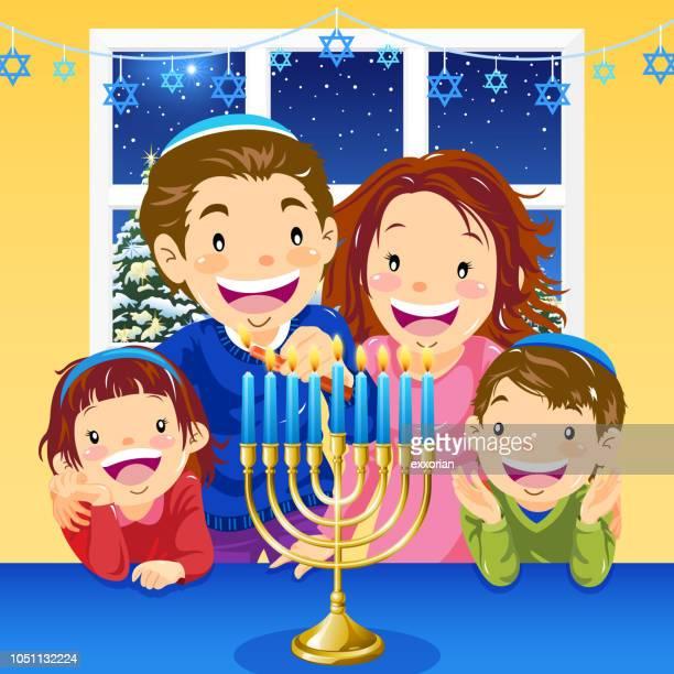 lighting hanukkah menorah - hanukkah stock illustrations, clip art, cartoons, & icons