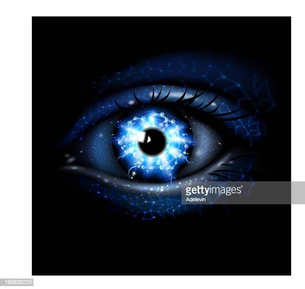 lightining blue eye - human eye stock illustrations