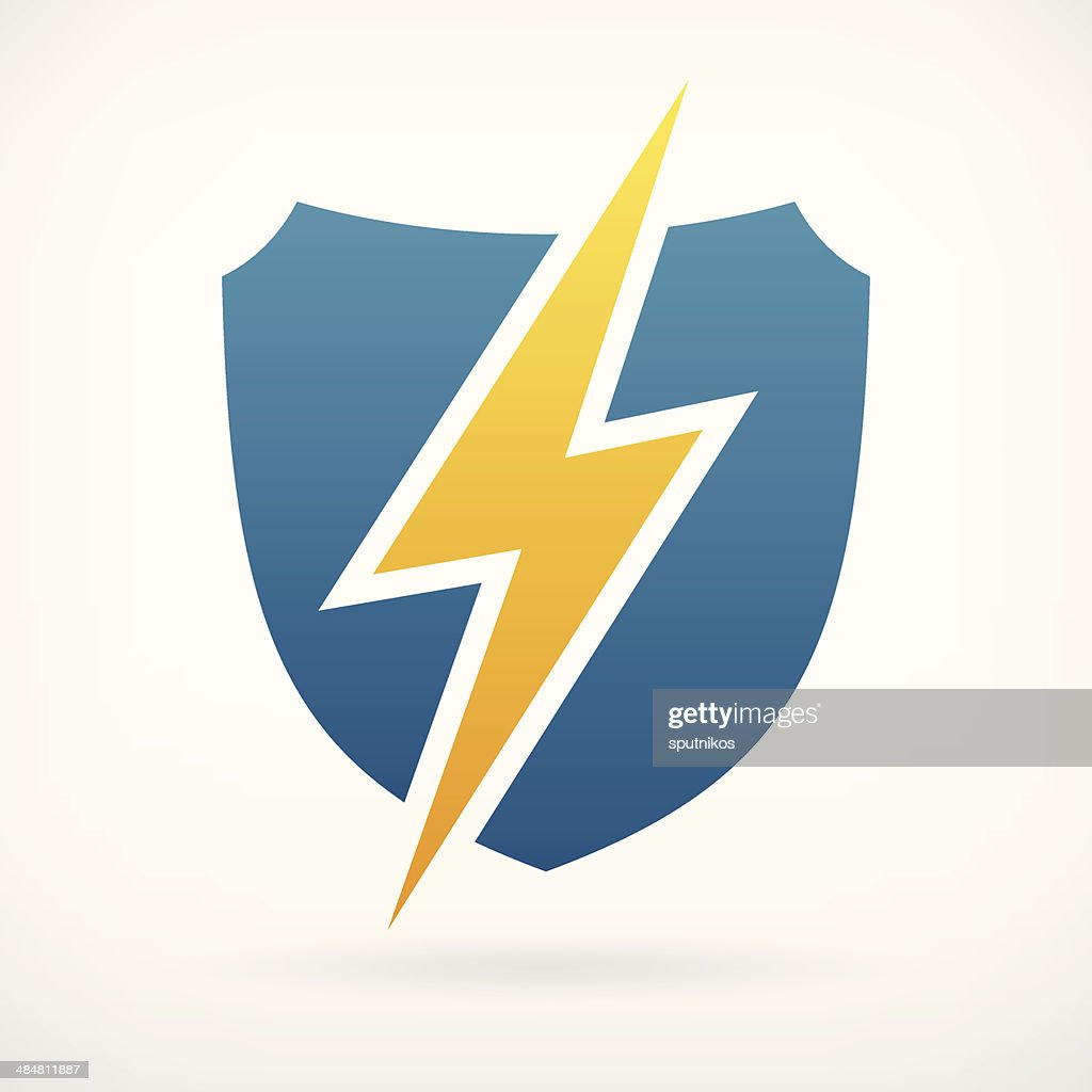lightning and shield symbol protect logo template