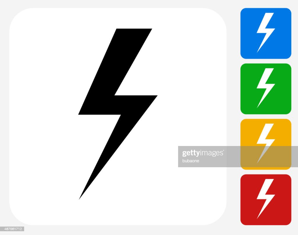 Lightning Bolt Icon Flat Graphic Design