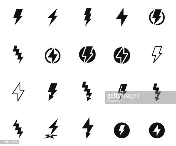 lightning bolt icon set - vitality stock illustrations