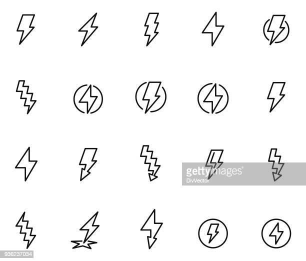 lightning bolt icon set - lightning stock illustrations