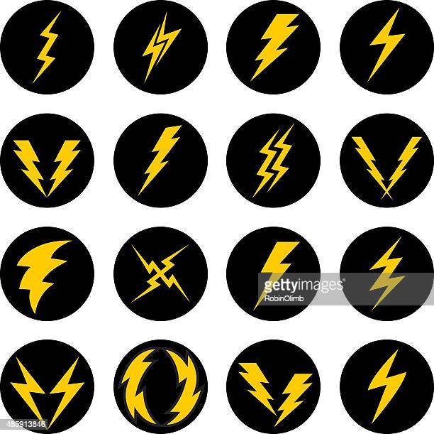lightning bolt icons - sparks stock illustrations, clip art, cartoons, & icons