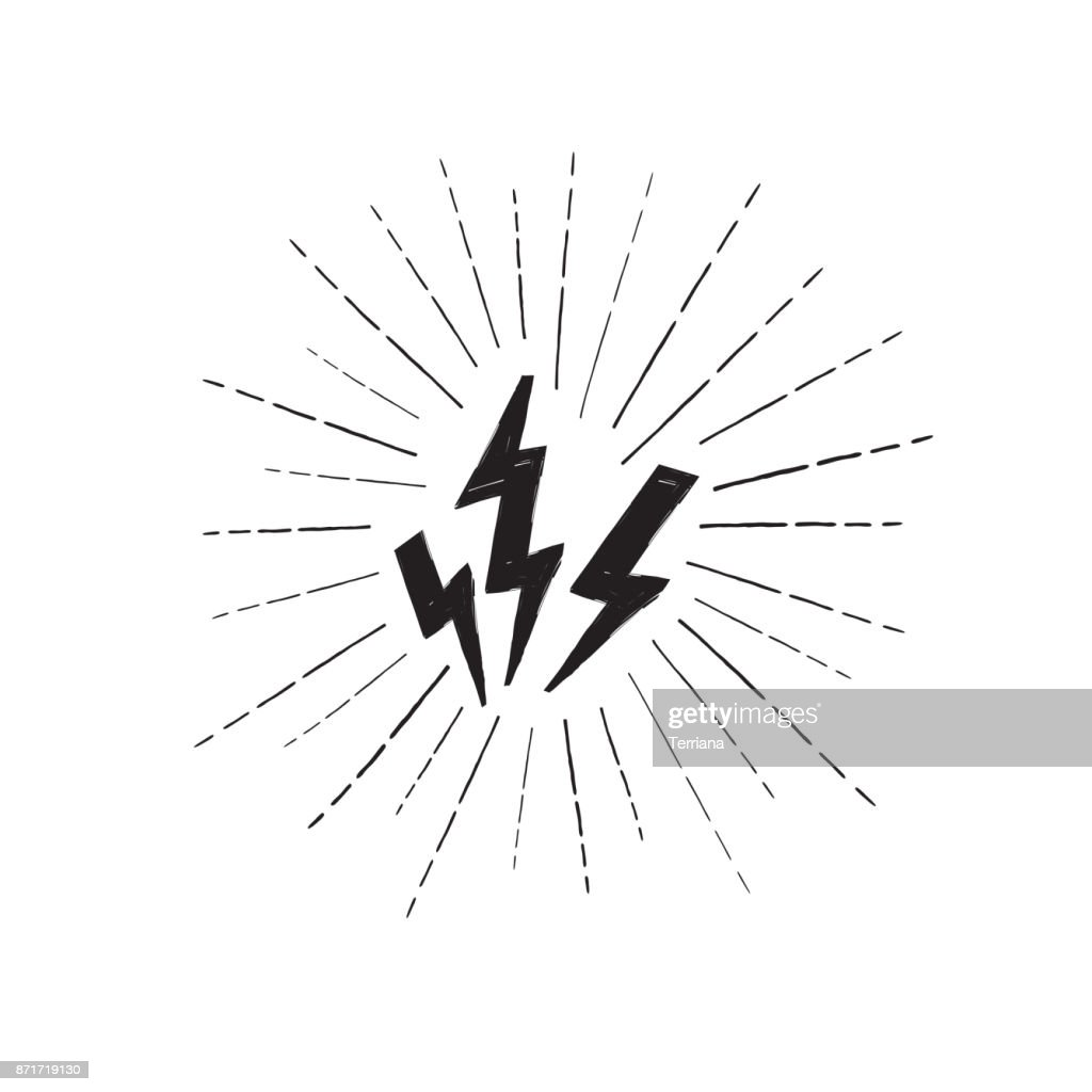 Lightning bolt set. Grunge strike icon. Power sign. Thunderbolt