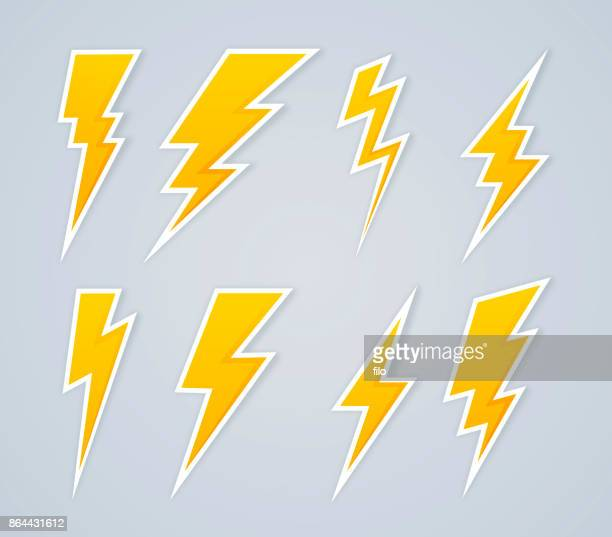 lightning bolt symbols and icons - illuminated stock illustrations