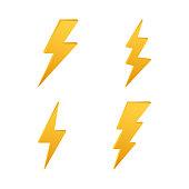 Lightning bolt. Thunder bolt, lighting strike expertise. Vector illustration.