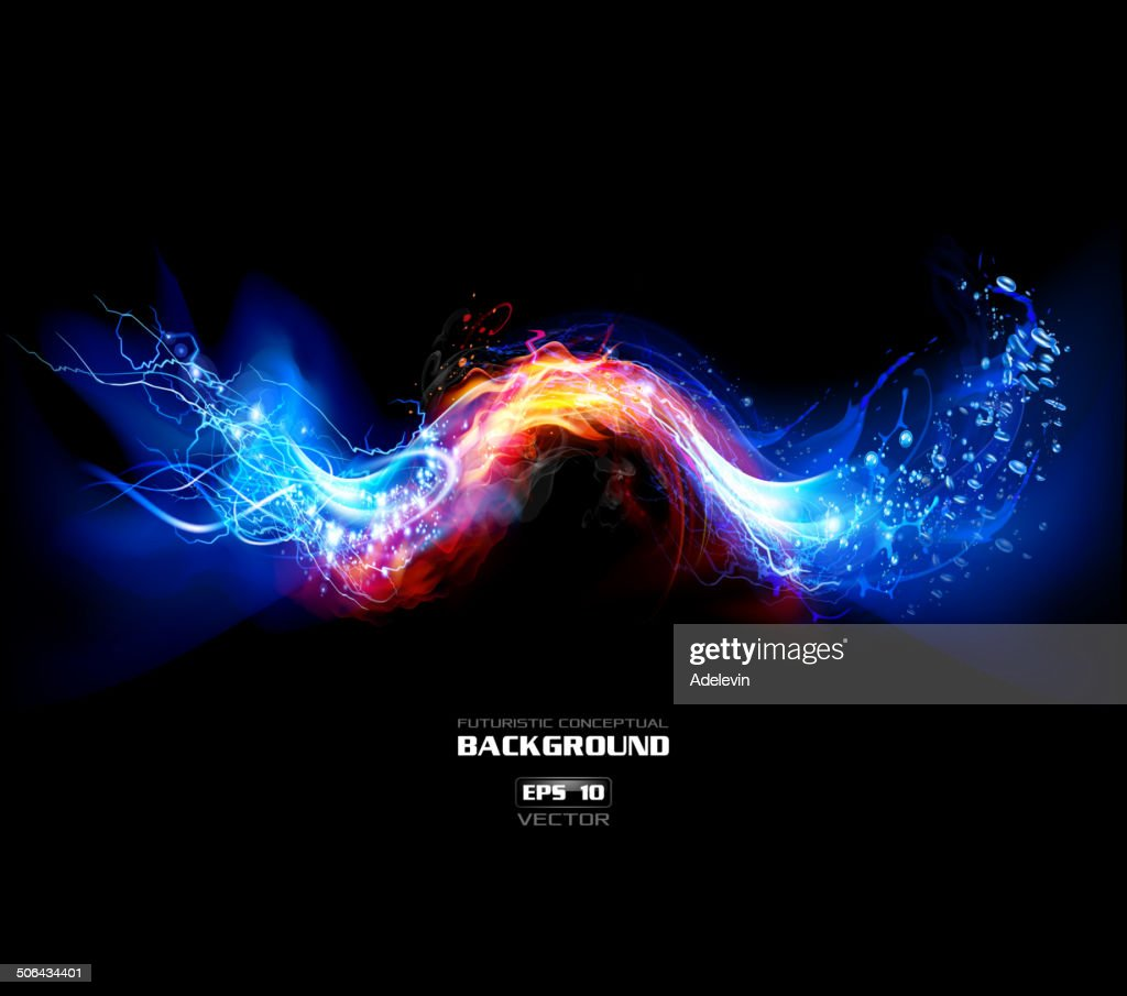 Lightning, FIre and Water Background