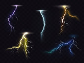 Lightning flash glowing light effects vector set