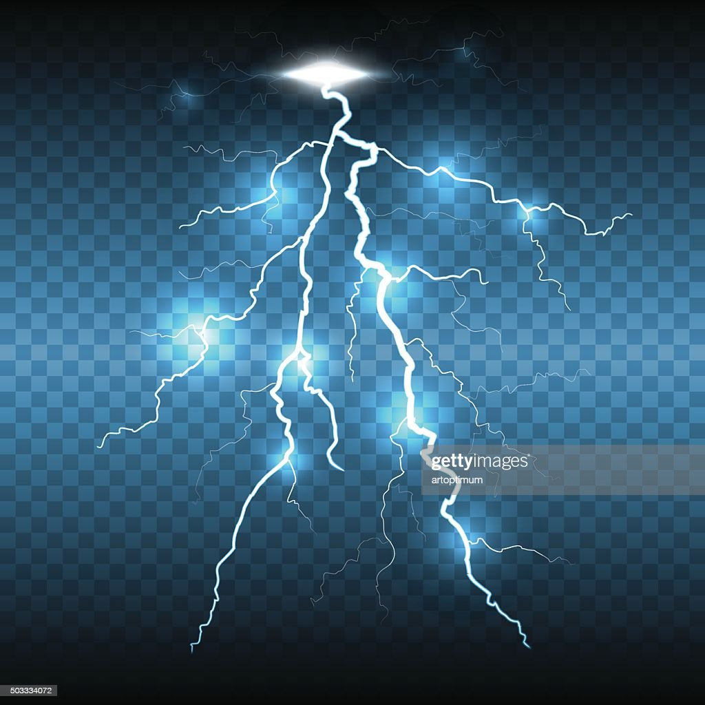 Lightning flash strike, transparent background