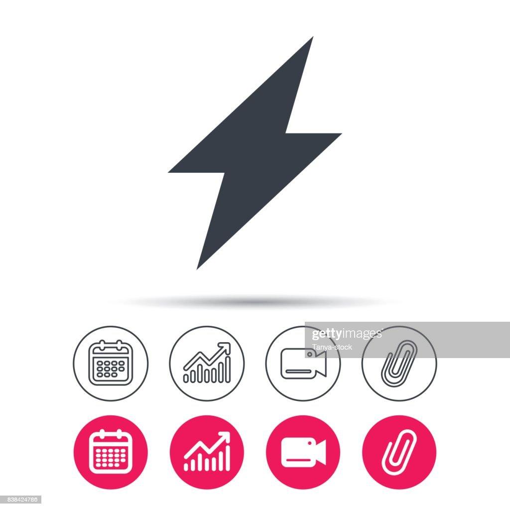Blitzsymbol Die Elektrische Energie Power Unterschreiben ...