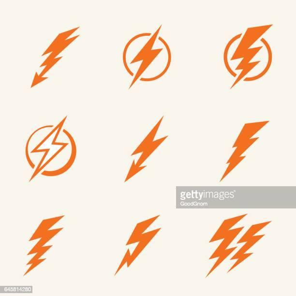 lightning icons - flash stock illustrations