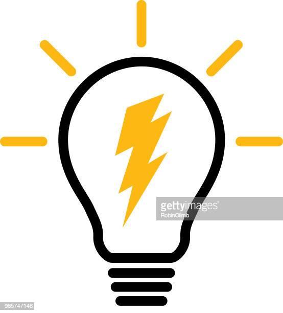lightning lightbulb - lightning stock illustrations