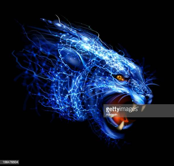 lightning panther art - flare stack stock illustrations, clip art, cartoons, & icons