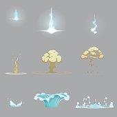 Lightning strike, water splash and ground explosion