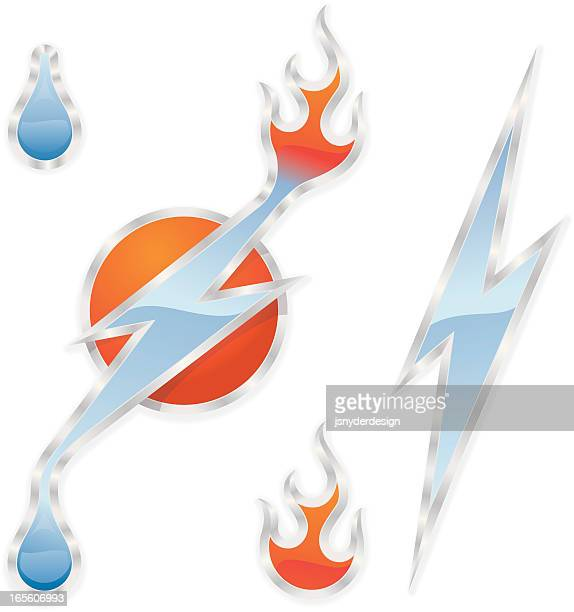 lightning, water, fire - disaster relief stock illustrations, clip art, cartoons, & icons