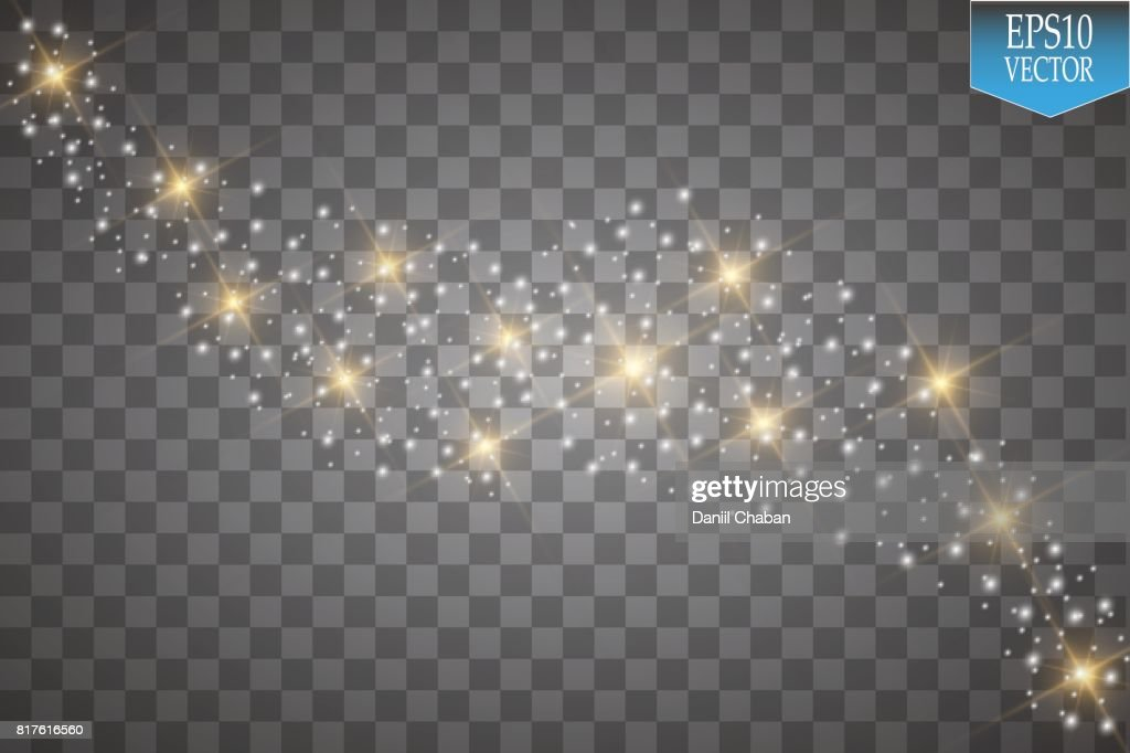 Lights on transparent background. Vector white glitter wave abstract illustration. White star dust trail sparkling particles isolated