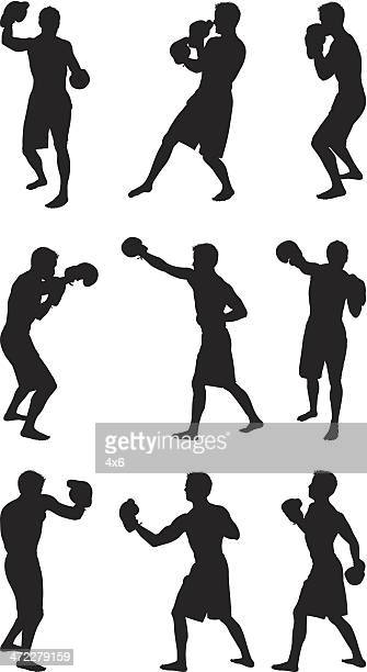 Lightweight boxer sparring