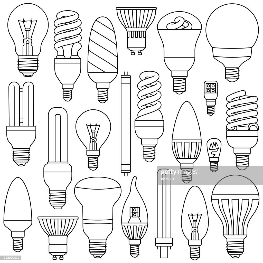 Ligth lamps set. Outlined icons isolated on the white