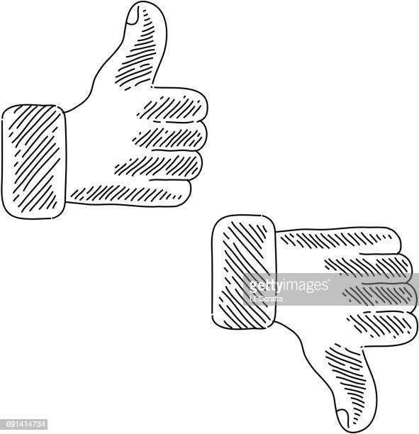 like and dislike icon drawing - thumbs down stock illustrations