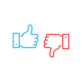Like and dislike icons. Blue thumbs up and red thumbs down button. Simple linear outline style graphic elements. Social network, unlike, yes, recommend, good review, feedback concepts. Vector line icons set isolated on white background