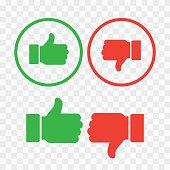 Like and dislike icons set. Thumb up symbol, finger up icon. like and dislike sign