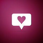 Like and heart icon isolated on purple background. Counter Notification Icon. Follower Insta. Flat design. Vector Illustration