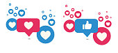 Like and Love icons. Thumbs up and heart, social media icon. Vector illustration.