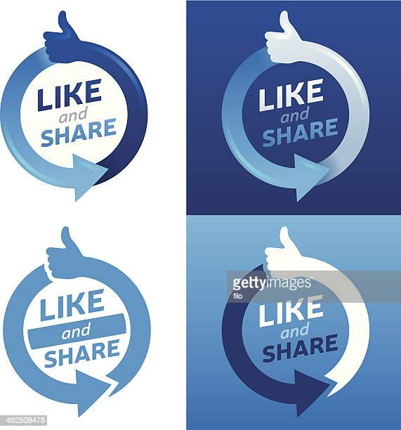 like and share - like button stock illustrations