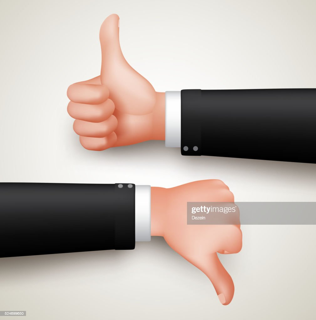 Like and Unlike Hand Gesture or Thumbs Up