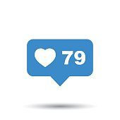 Like, comment, follower icon. Blue flat vector illustration with heart on white background.