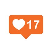 Like, comment, follower icon. Orange flat vector illustration with heart on white background.