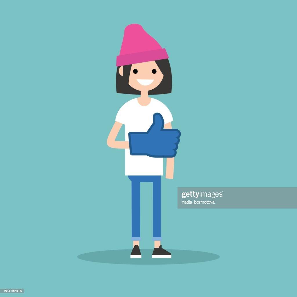 Like concept. Teenage girl wearing foam finger / editable flat vector illustration