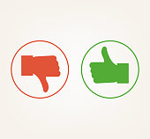 Like dislike thumb up and down isolated icon