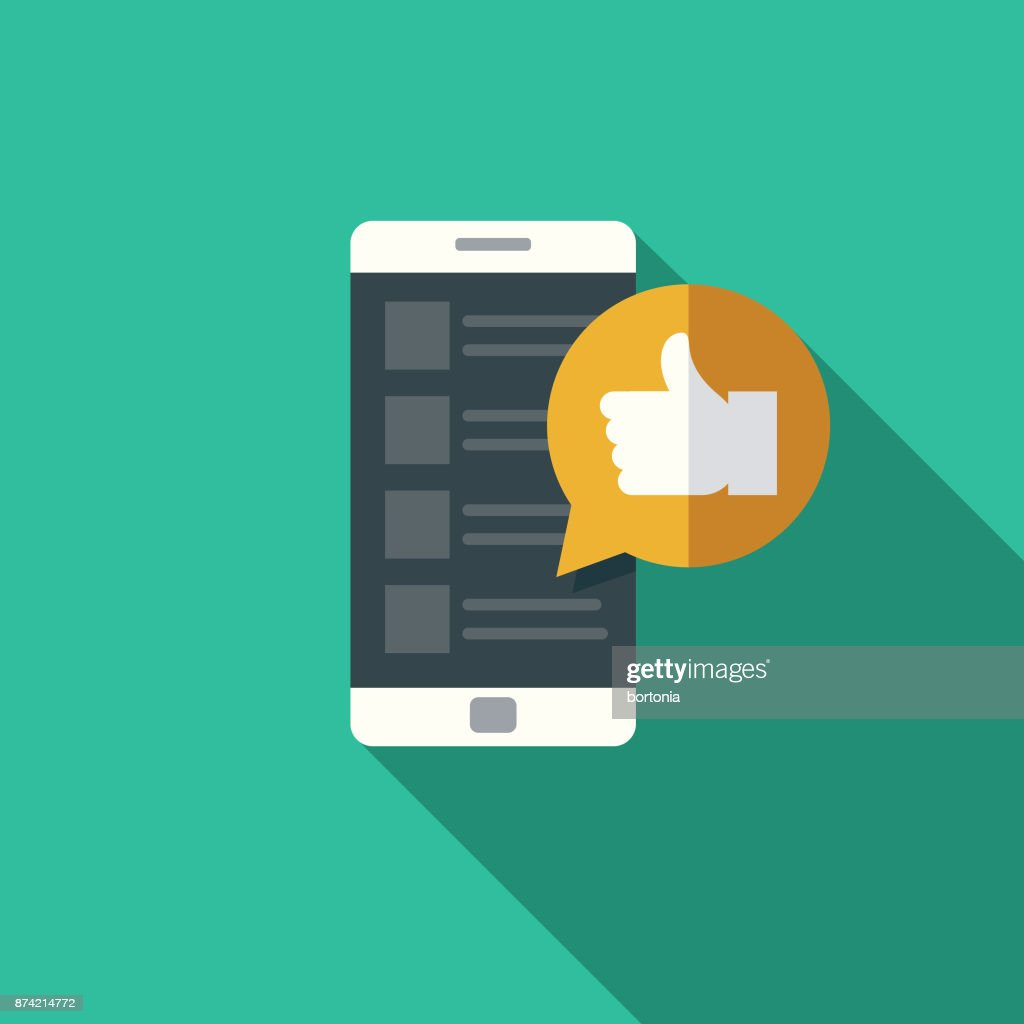 'Like' Social Media Flat Design Icon with Side Shadow