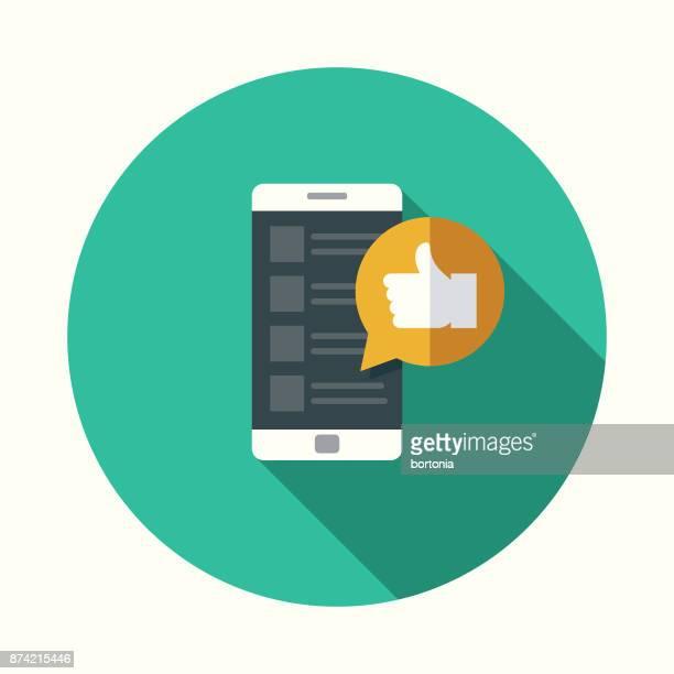 stockillustraties, clipart, cartoons en iconen met 'like' sociale media platte ontwerp pictogram met kant schaduw - sms'en