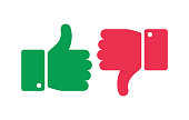 Like unlike buttons. Thumbs up and down isolated icons. Yes and no fingers, positive negative marks vector symbols