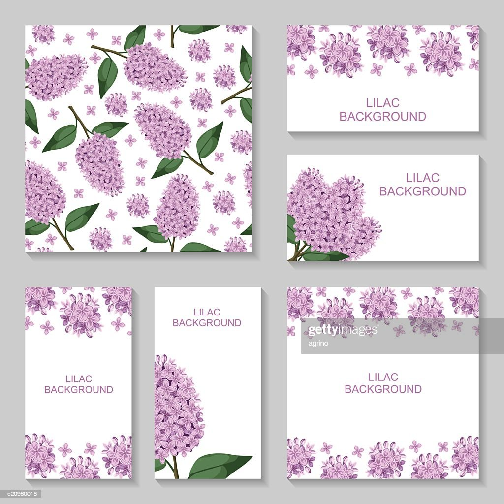 Lilac flowers background set