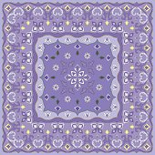 Lilac handkerchief with delicate blue ornaments