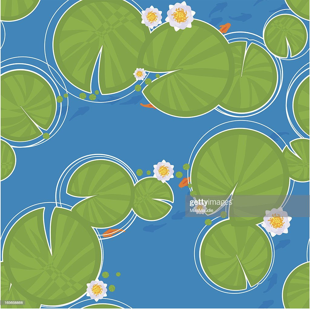 Lily pad and fish seamless pattern