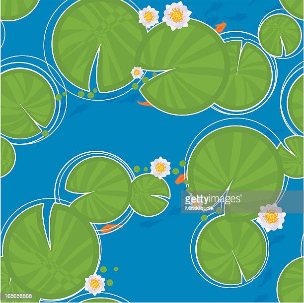 lily pad and fish seamless pattern - lily stock illustrations, clip art, cartoons, & icons