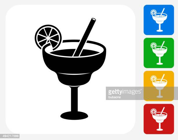 lime cocktail icon flat graphic design - margarita stock illustrations, clip art, cartoons, & icons